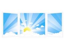 Raumfenster mit ruhiger Landschaft Lizenzfreies Stockfoto