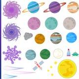 Raumgegenstände lokalisiert Transport, Planeten und Sterne Lizenzfreies Stockfoto