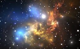 Raumhintergrund mit buntem Nebelfleck und Sternen Stockbilder