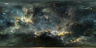 Raumhintergrund mit Nebelfleck und Sternen Panorama, Umwelt 360 HDRI Lizenzfreies Stockbild