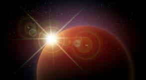 Raumhintergrund mit rotem Planeten und aufsteigendem Stern stock abbildung