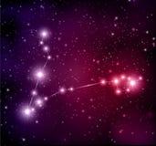 Raumhintergrund mit Sternen und Fisch-Konstellation Stockfoto