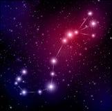 Raumhintergrund mit Sternen und Skorpionskonstellation Stockfotografie