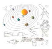 Raumikonen und -Sonnensystem Stockfotografie