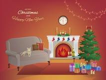 Rauminnenraum der frohen Weihnachten auf einem roten Hintergrund mit einem Kamin, Weihnachtsbaum, Couch, Geschenkboxen, Wanduhr K Lizenzfreie Stockfotos