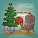 Rauminnenraum der frohen Weihnachten mit einem Kamin, Baum, Lehnsessel, Geschenke in den Kästen Weihnachtsnachtfeierinnenvektor i Stockfoto