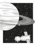 Raumlandschaft mit Saturn und Raumfahrzeug Stockfoto