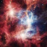 Raumnebelfleck mit hellen Sternen und Wolken Stockfotografie