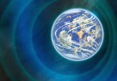 Raumplanet mit Nebelflecklichtern Kosmoshimmelhintergründe Stockfotografie