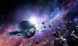 Raumplaneten und -nebelfleck lizenzfreie stockfotos