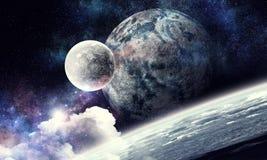 Raumplaneten und -nebelfleck lizenzfreies stockfoto