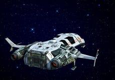 Raumschiff über der Wolkenrückseitenansicht lizenzfreie abbildung