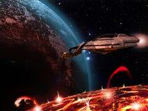 Raumschiff über einem vulkanischen Satelliten Stockfoto