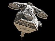 Raumschiff auf schwarz- Vorderansicht Lizenzfreies Stockfoto