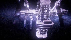 Raumschiff, das durch das Universum reist stock video