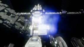 Raumschiff, das durch das Universum reist stock footage