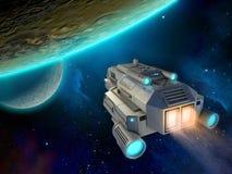 Raumschiff, das einem Planeten sich nähert lizenzfreie abbildung