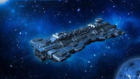 Raumschiff, das in Weltraum, in Ausländer UFO-Raumfahrzeugfliegen im Universum mit Planeten und in Sterne, 3D reist zu übertragen lizenzfreie abbildung