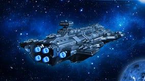 Raumschiff, das in Weltraum, in Ausländer UFO-Raumfahrzeugfliegen im Universum mit Planeten und in Sterne, hintere Ansicht, 3D re vektor abbildung