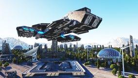 Raumschiff in einer futuristischen Stadt, Stadt Das Konzept der Zukunft Schattenbild des kauernden Geschäftsmannes Wiedergabe 3d lizenzfreie abbildung