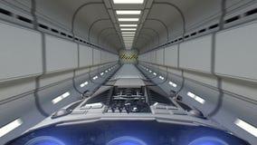 Raumschiff fliegt aus dem Sciencefictionstunnel und dem Sprung in hyperspace, Animation 3d heraus