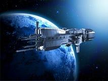 Raumschiff mit Planetenerde lizenzfreie abbildung