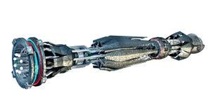 Raumschiff mit Verzerrungs-Antrieb lizenzfreie abbildung