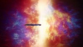 Raumschiff nahe enormer bunter Verbindung vektor abbildung