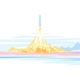 Raumschiff-Produkteinführungs-Landschaft Stockfoto