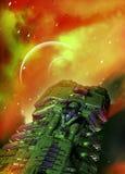 Raumschiff und Planet Stockbild