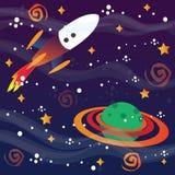Raumschiff und -planet stock abbildung