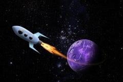 Raumschiff und Planet im Platz Stockfotografie