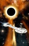 Raumschiff und schwarzes Loch Lizenzfreies Stockfoto