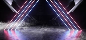 Raumschiff-Zusammenfassungs-Dreieck-glattes Metallkonkreter Schmutz Rauch-Kreis-blaues Neonpurpur-gl?hender Dreieck Sci FI futuri lizenzfreie abbildung