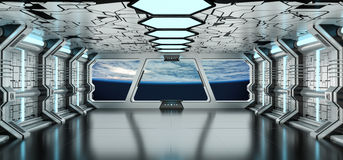 Raumschiffinnenraum mit Ansicht über die Planet Erde 3D, die EL überträgt Lizenzfreie Stockfotografie