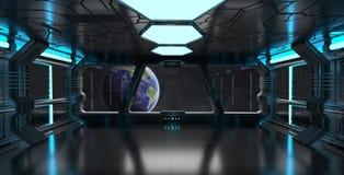 Raumschiffinnenraum mit Ansicht über die Planet Erde 3D, die EL überträgt Lizenzfreies Stockfoto