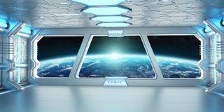 Raumschiffinnenraum mit Ansicht über die Planet Erde 3D, die EL überträgt Stockfotos