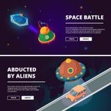 Raumschiffkarikatur Isometrisches Bildisolat des Vektors stock abbildung