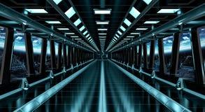 Raumschiffkorridor mit Ansicht über die Planet Erde 3D, die EL überträgt Stockbild