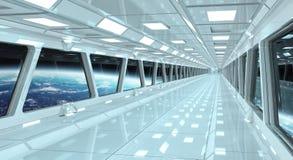Raumschiffkorridor mit Ansicht über die Planet Erde 3D, die EL überträgt Lizenzfreie Stockbilder