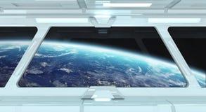 Raumschiffkorridor mit Ansicht über die Planet Erde 3D, die EL überträgt Lizenzfreies Stockfoto