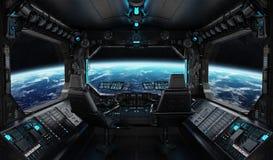 Raumschiffschmutzinnenraum mit Ansicht über Planet Erde Stockfoto