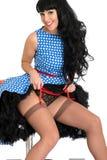 Raunchy Sexy Betoverende Jonge Uitstekende Rode de Bretelriem en Kousen van Pin Up Model Posing In stock afbeelding