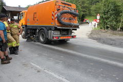 Rauris, Salzburg Austria - August 27, 2015:  Clear the road after landslide Royalty Free Stock Photo