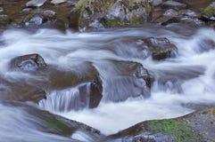 Rauschender Fluss-Wasser, das über Felsen in Oregon fließt Stockbild