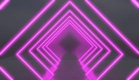 Rautentunnel hergestellt von den rosa Neonlichtern Lizenzfreies Stockfoto