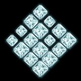 Rautenzusammensetzung gemacht von glänzenden Diamanten Stockbilder