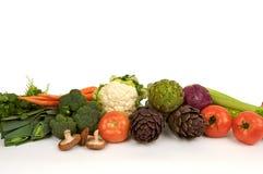 Rauwe groenten in een rij stock foto