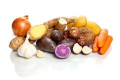 Rauwe groenten - knollen - op witte achtergrond stock afbeelding