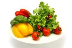 Rauwe groenten op schotel die over wit wordt geïsoleerd Royalty-vrije Stock Afbeeldingen